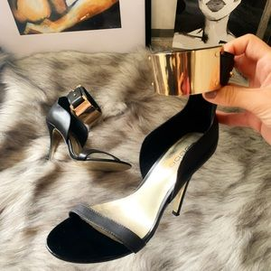 Bebe heels with gold ankle strap